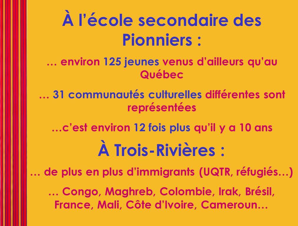 … environ 125 jeunes venus dailleurs quau Québec … 31 communautés culturelles différentes sont représentées …cest environ 12 fois plus quil y a 10 ans