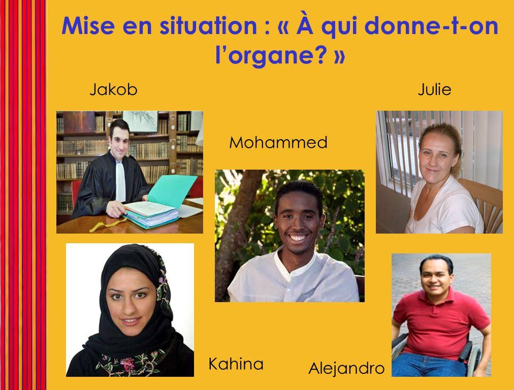 Mise en situation : « À qui donne-t-on lorgane? » Jakob Mohammed Julie Kahina Alejandro