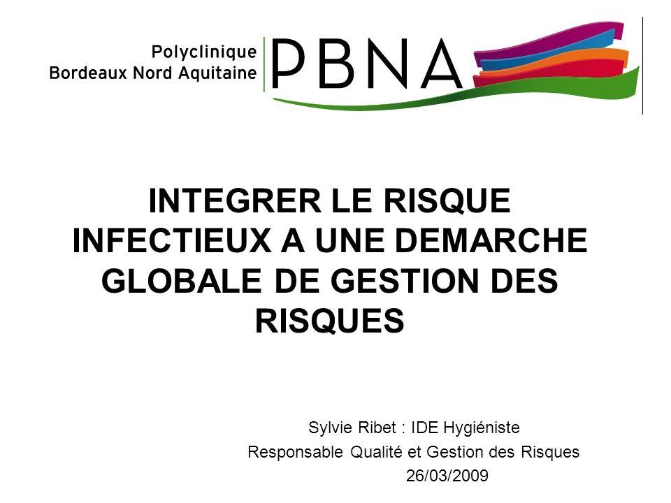 INTEGRER LE RISQUE INFECTIEUX A UNE DEMARCHE GLOBALE DE GESTION DES RISQUES Sylvie Ribet : IDE Hygiéniste Responsable Qualité et Gestion des Risques 2