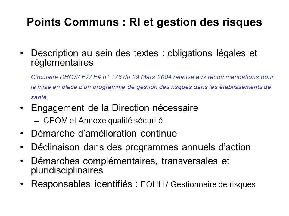 Points Communs : RI et gestion des risques Description au sein des textes : obligations légales et réglementaires Circulaire DHOS/ E2/ E4 n° 176 du 29