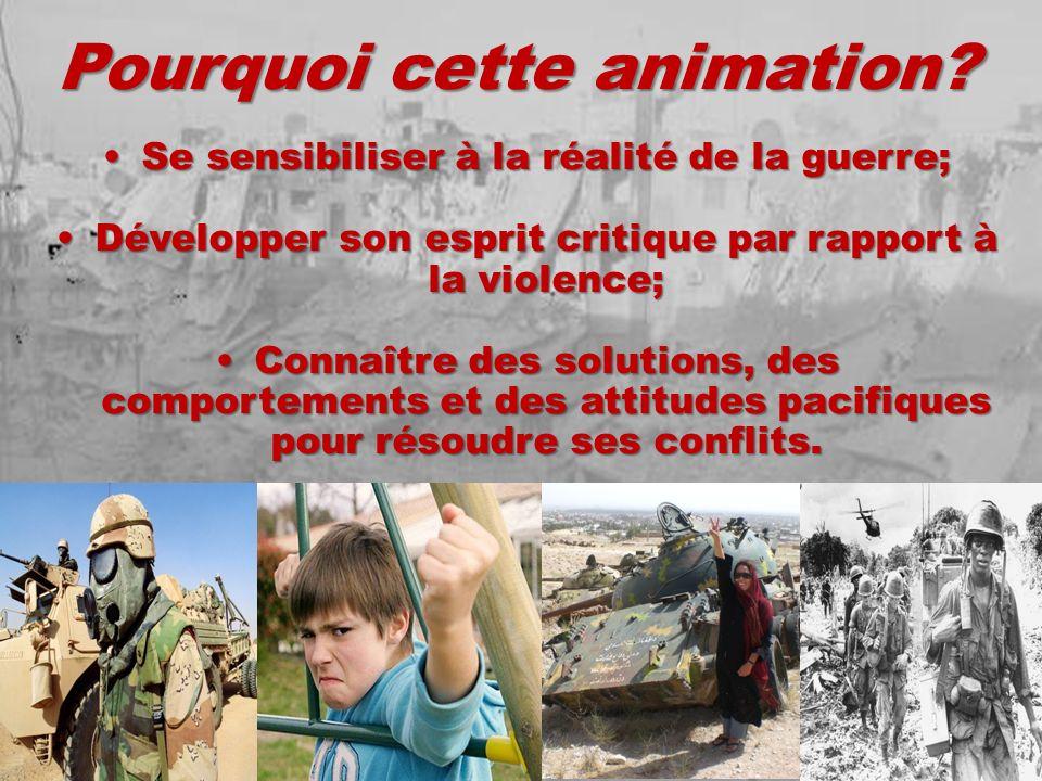 Pourquoi cette animation? Se sensibiliser à la réalité de la guerre;Se sensibiliser à la réalité de la guerre; Développer son esprit critique par rapp