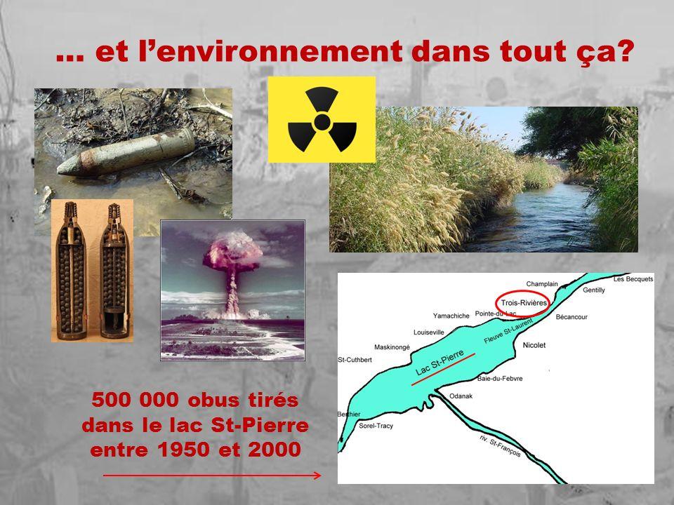 … et lenvironnement dans tout ça? 500 000 obus tirés dans le lac St-Pierre entre 1950 et 2000
