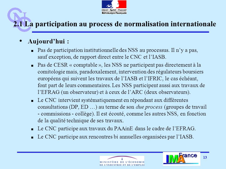 13 2.1 La participation au process de normalisation internationale Aujourdhui : Pas de participation institutionnelle des NSS au processus. Il ny a pa