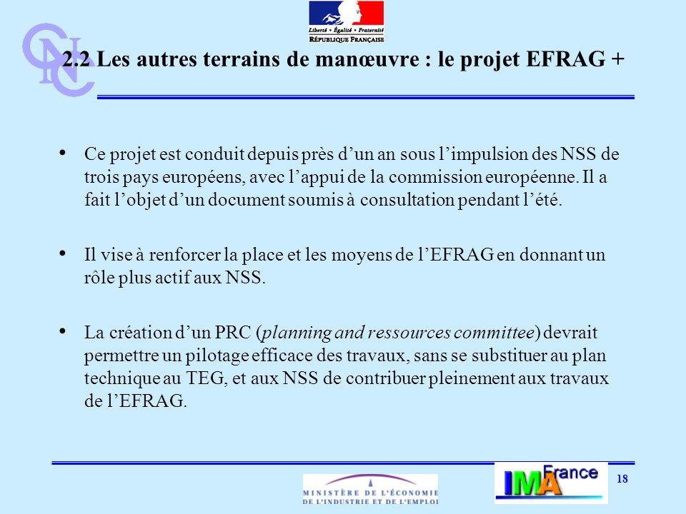 18 2.2 Les autres terrains de manœuvre : le projet EFRAG + Ce projet est conduit depuis près dun an sous limpulsion des NSS de trois pays européens, avec lappui de la commission européenne.