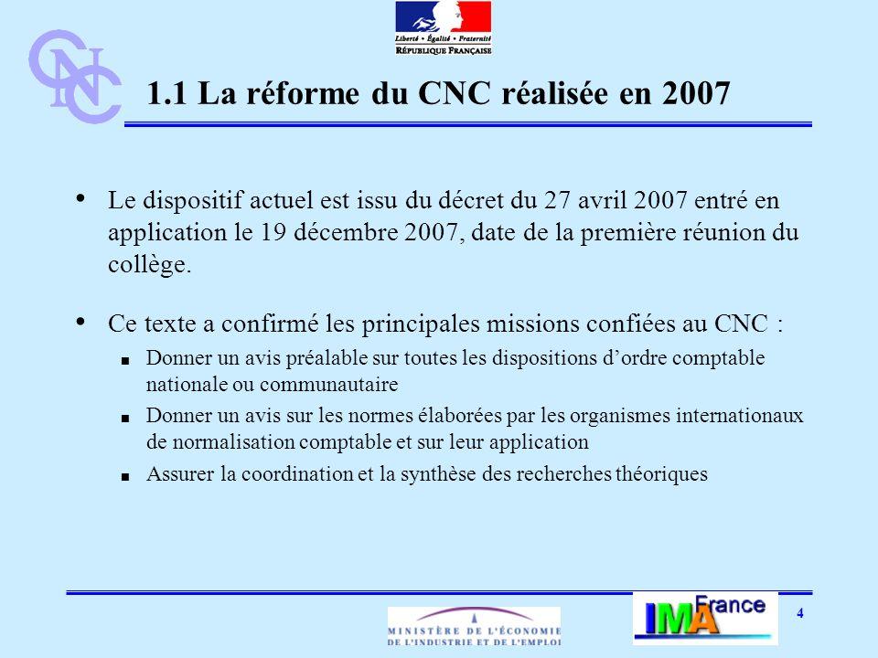 4 1.1 La réforme du CNC réalisée en 2007 Le dispositif actuel est issu du décret du 27 avril 2007 entré en application le 19 décembre 2007, date de la première réunion du collège.