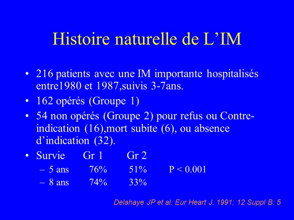Histoire naturelle de LIM 216 patients avec une IM importante hospitalisés entre1980 et 1987,suivis 3-7ans. 162 opérés (Groupe 1) 54 non opérés (Group