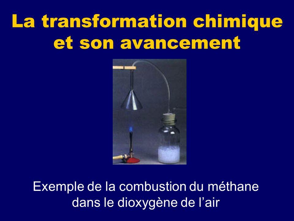 La transformation chimique et son avancement Exemple de la combustion du méthane dans le dioxygène de lair