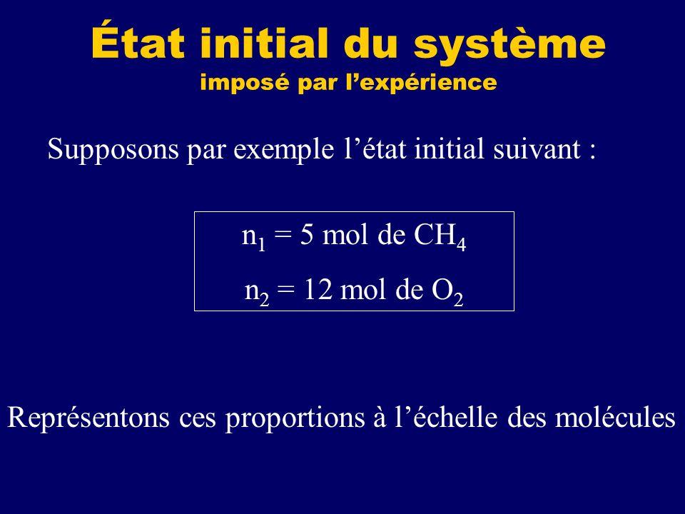 État initial du système imposé par lexpérience n 1 = 5 mol de CH 4 n 2 = 12 mol de O 2 Supposons par exemple létat initial suivant : Représentons ces