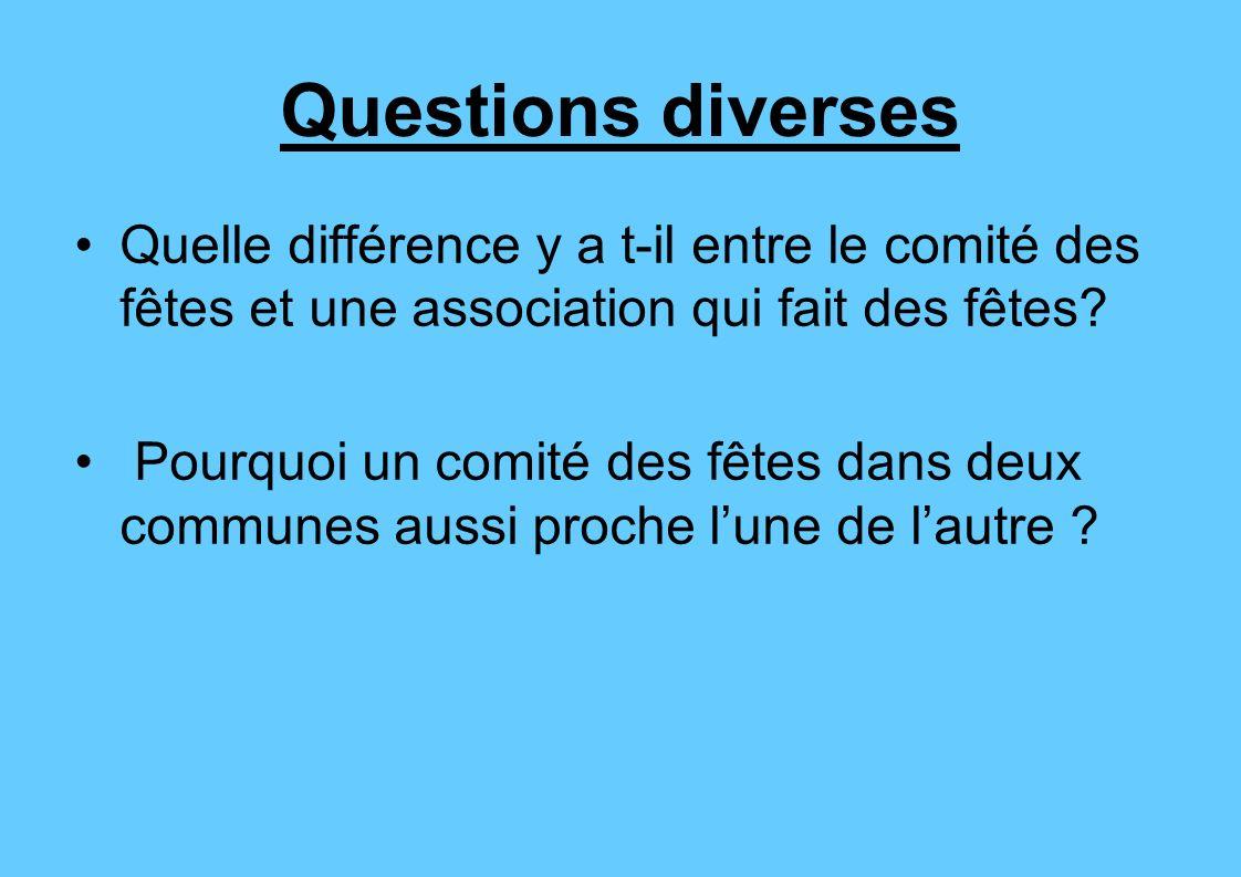 Questions diverses Quelle différence y a t-il entre le comité des fêtes et une association qui fait des fêtes? Pourquoi un comité des fêtes dans deux