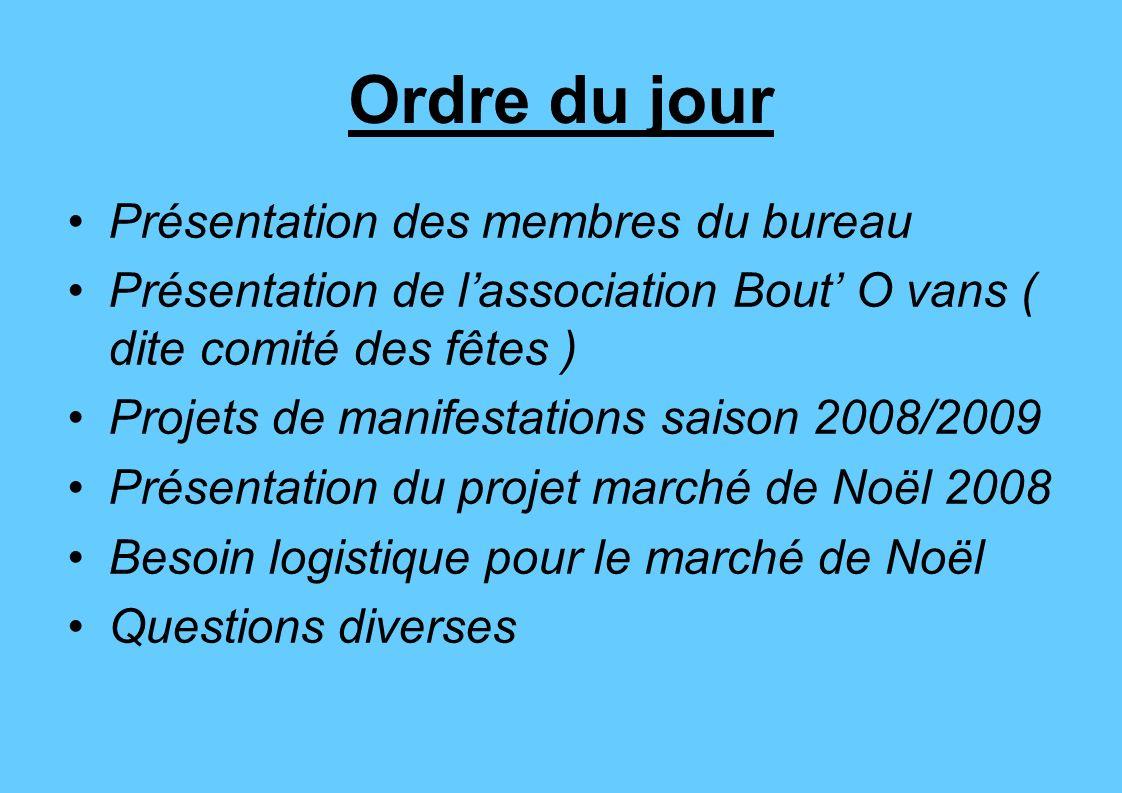 Ordre du jour Présentation des membres du bureau Présentation de lassociation Bout O vans ( dite comité des fêtes ) Projets de manifestations saison 2