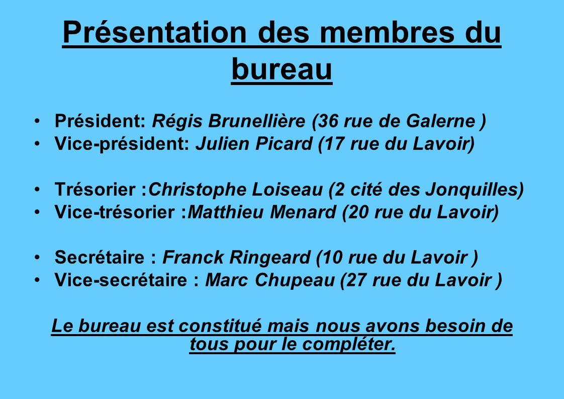 Présentation des membres du bureau Président: Régis Brunellière (36 rue de Galerne ) Vice-président: Julien Picard (17 rue du Lavoir) Trésorier :Chris