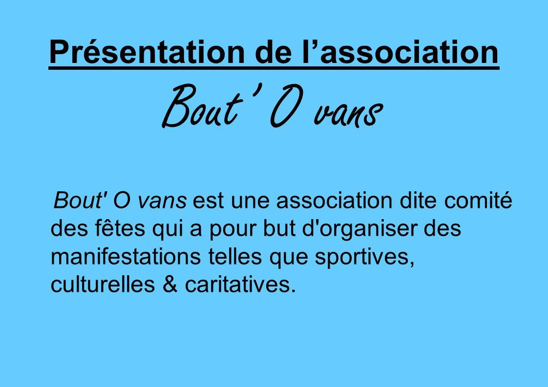 Présentation de lassociation Bout O vans Bout' O vans est une association dite comité des fêtes qui a pour but d'organiser des manifestations telles q