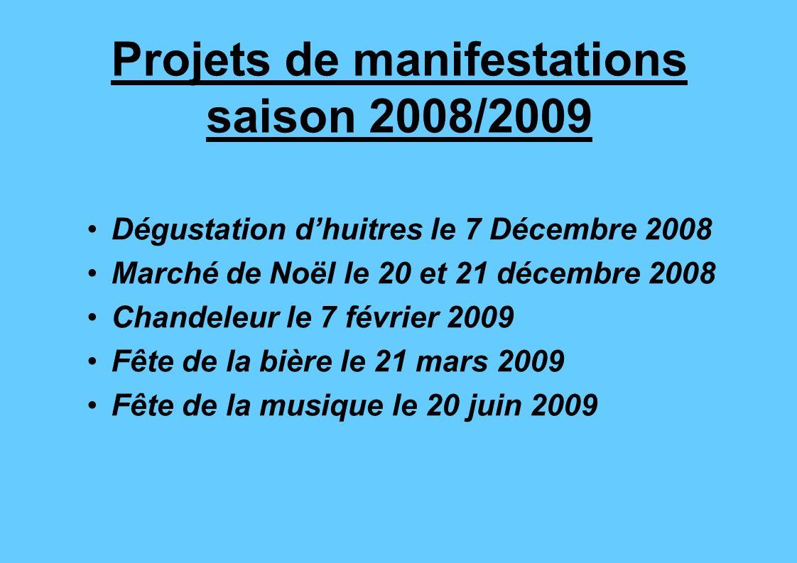 Projets de manifestations saison 2008/2009 Dégustation dhuitres le 7 Décembre 2008 Marché de Noël le 20 et 21 décembre 2008 Chandeleur le 7 février 20