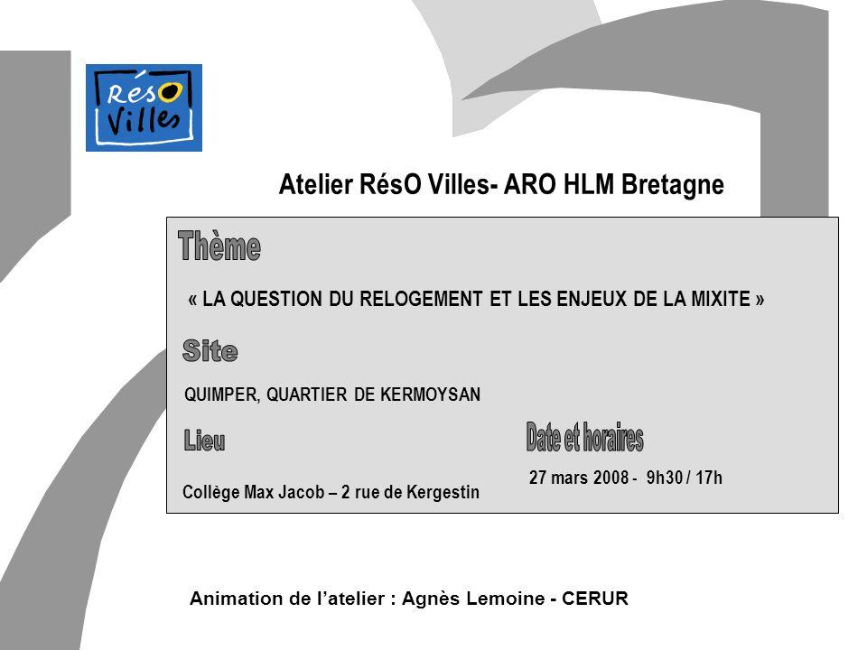 Cerur,groupeReflex_1 Atelier RésO Villes- ARO HLM Bretagne « LA QUESTION DU RELOGEMENT ET LES ENJEUX DE LA MIXITE » Animation de latelier : Agnès Lemo