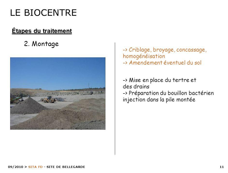11 > SITA FD - SITE DE BELLEGARDE 09/2010 -> Criblage, broyage, concassage, homogénéisation -> Amendement éventuel du sol -> Mise en place du tertre e