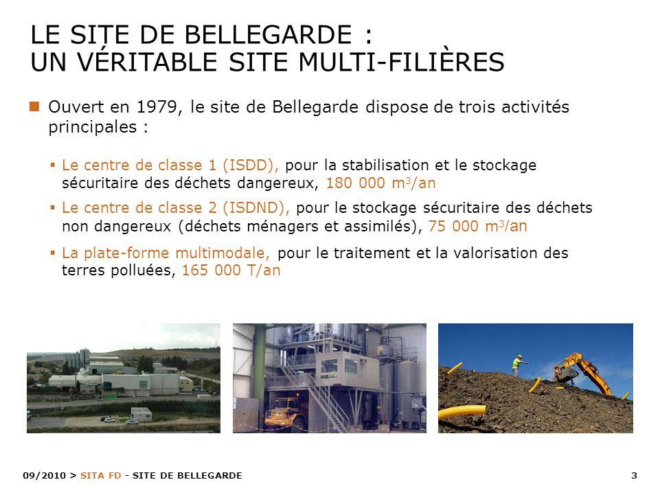3 > SITA FD - SITE DE BELLEGARDE 09/2010 Le centre de classe 1 (ISDD), pour la stabilisation et le stockage sécuritaire des déchets dangereux, 180 000