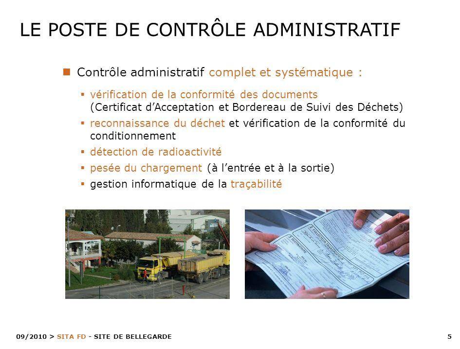 5 > SITA FD - SITE DE BELLEGARDE 09/2010 LE POSTE DE CONTRÔLE ADMINISTRATIF Contrôle administratif complet et systématique : vérification de la confor