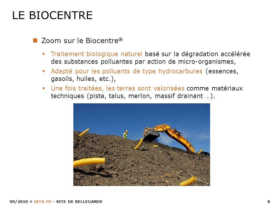 8 > SITA FD - SITE DE BELLEGARDE 09/2010 LE BIOCENTRE Zoom sur le Biocentre ® Traitement biologique naturel basé sur la dégradation accélérée des subs