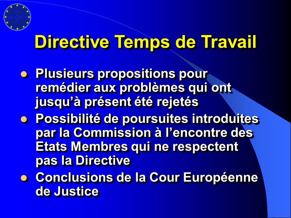 Directive Temps de Travail Plusieurs propositions pour remédier aux problèmes qui ont jusquà présent été rejetés Plusieurs propositions pour remédier aux problèmes qui ont jusquà présent été rejetés Possibilité de poursuites introduites par la Commission à lencontre des Etats Membres qui ne respectent pas la Directive Possibilité de poursuites introduites par la Commission à lencontre des Etats Membres qui ne respectent pas la Directive Conclusions de la Cour Européenne de Justice Conclusions de la Cour Européenne de Justice Plusieurs propositions pour remédier aux problèmes qui ont jusquà présent été rejetés Plusieurs propositions pour remédier aux problèmes qui ont jusquà présent été rejetés Possibilité de poursuites introduites par la Commission à lencontre des Etats Membres qui ne respectent pas la Directive Possibilité de poursuites introduites par la Commission à lencontre des Etats Membres qui ne respectent pas la Directive Conclusions de la Cour Européenne de Justice Conclusions de la Cour Européenne de Justice