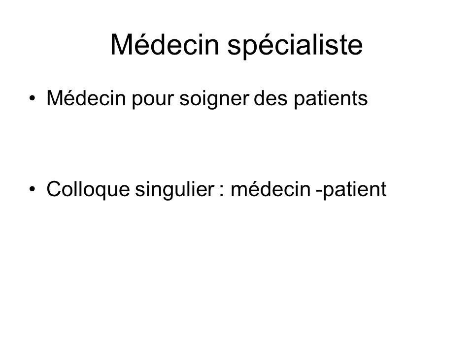 Médecin spécialiste Médecin pour soigner des patients Colloque singulier : médecin -patient