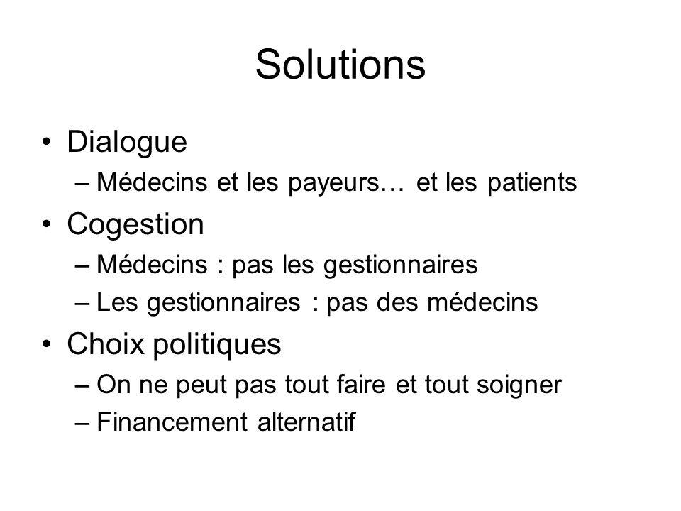 Solutions Dialogue –Médecins et les payeurs… et les patients Cogestion –Médecins : pas les gestionnaires –Les gestionnaires : pas des médecins Choix p