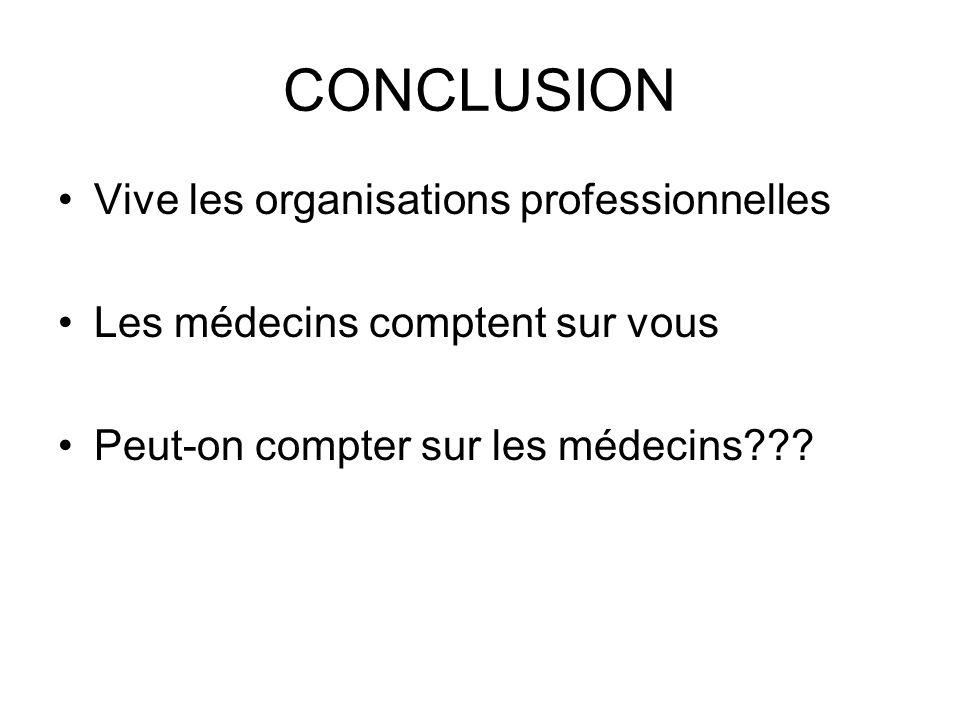CONCLUSION Vive les organisations professionnelles Les médecins comptent sur vous Peut-on compter sur les médecins???