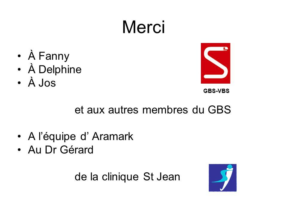 Merci À Fanny À Delphine À Jos et aux autres membres du GBS A léquipe d Aramark Au Dr Gérard de la clinique St Jean GBS-VBS