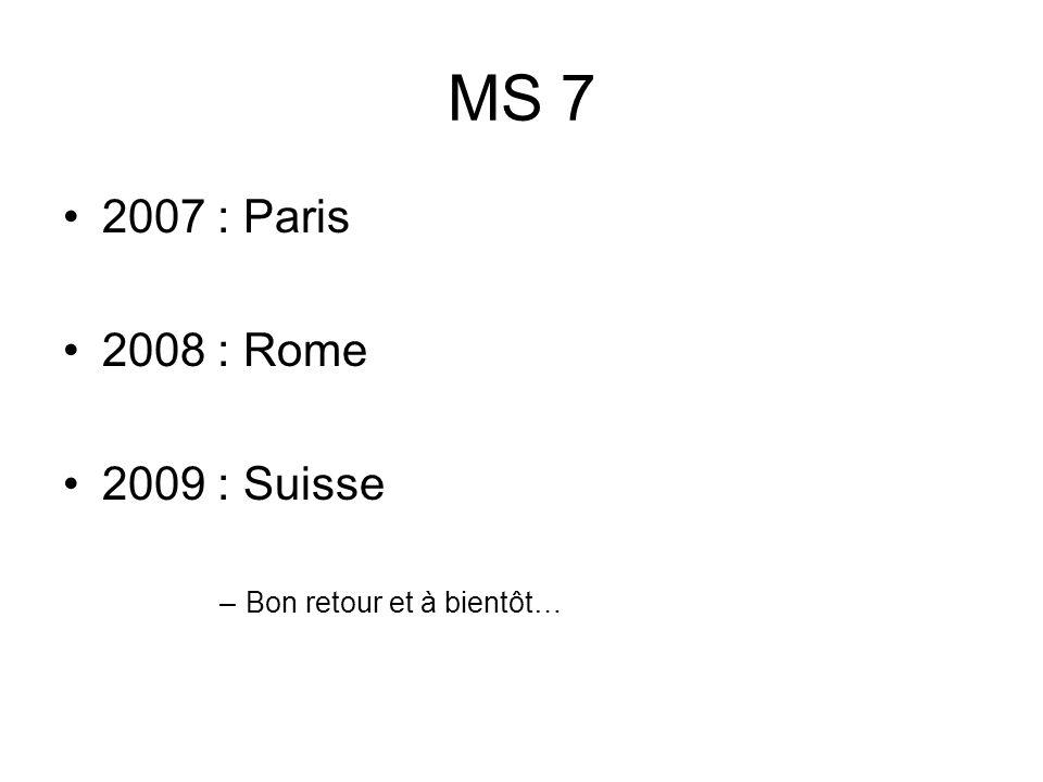 MS 7 2007 : Paris 2008 : Rome 2009 : Suisse –Bon retour et à bientôt…