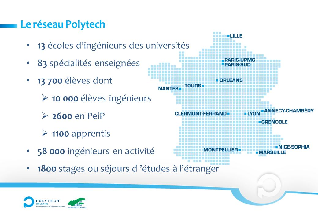 Le réseau Polytech 13 écoles dingénieurs des universités 83 spécialités enseignées 13 700 élèves dont 10 000 élèves ingénieurs 2600 en PeiP 1100 apprentis 58 000 ingénieurs en activité 1800 stages ou séjours d études à létranger