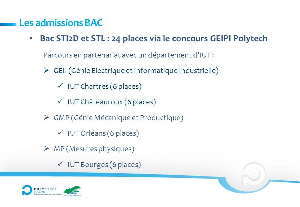 Les admissions BAC Bac STI2D et STL : 24 places via le concours GEIPI Polytech Parcours en partenariat avec un département dIUT : GEII (Génie Electrique et Informatique Industrielle) IUT Chartres (6 places) IUT Châteauroux (6 places) GMP (Génie Mécanique et Productique) IUT Orléans (6 places) MP (Mesures physiques) IUT Bourges (6 places)