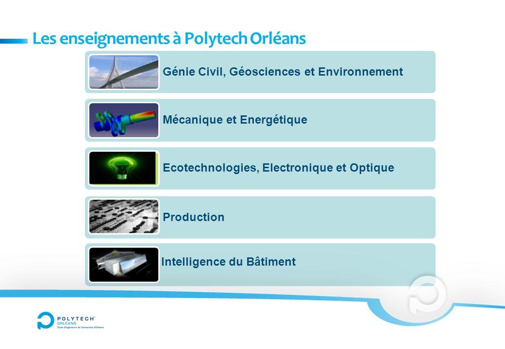 Les enseignements à Polytech Orléans Génie Civil, Géosciences et Environnement Mécanique et Energétique Ecotechnologies, Electronique et Optique Production Intelligence du Bâtiment