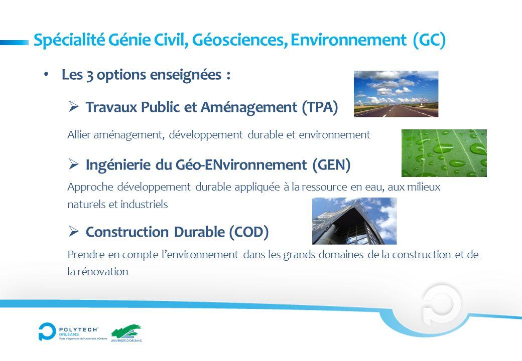 Spécialité Génie Civil, Géosciences, Environnement (GC) Les 3 options enseignées : Travaux Public et Aménagement (TPA) Allier aménagement, développeme