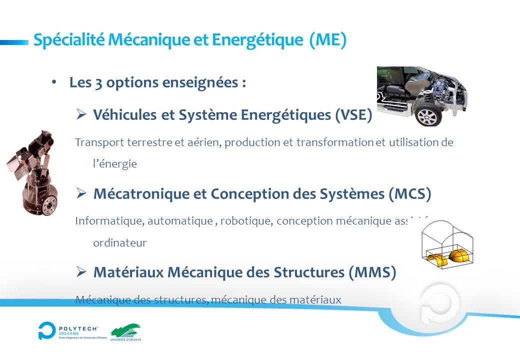 Spécialité Mécanique et Energétique (ME) Les 3 options enseignées : Véhicules et Système Energétiques (VSE) Transport terrestre et aérien, production et transformation et utilisation de lénergie Mécatronique et Conception des Systèmes (MCS) Informatique, automatique, robotique, conception mécanique assistée par ordinateur Matériaux Mécanique des Structures (MMS) Mécanique des structures, mécanique des matériaux