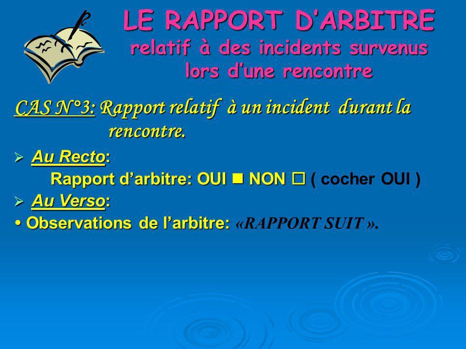 LE RAPPORT DARBITRE relatif à des incidents survenus lors dune rencontre CAS N°3: Rapport relatif à un incident durant la rencontre. Au Recto: Au Rect