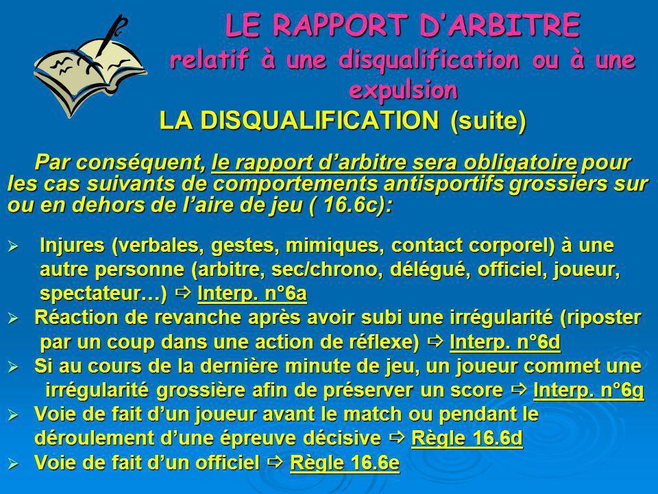 LE RAPPORT DARBITRE relatif à une disqualification ou à une expulsion LA DISQUALIFICATION (suite et fin) Le rapport darbitre sera facultatif pour les cas suivants de comportements antisportifs grossiers sur ou en dehors de laire de jeu ( 16.6c, 8.6): Comportement antisportif dun des officiels dune équipe, après quils aient été sanctionnés à la fois par un avertissement et une exclusion Règle 16.6a Comportement antisportif dun des officiels dune équipe, après quils aient été sanctionnés à la fois par un avertissement et une exclusion Règle 16.6a Irrégularités présentant un risque pour lintégrité physique de léquipe adverse Règle 16.6b, Règle 8.5 Irrégularités présentant un risque pour lintégrité physique de léquipe adverse Règle 16.6b, Règle 8.5 Lancer ou repousser le ballon du pied ostensiblement après une décision de larbitre Interp n°6b Lancer ou repousser le ballon du pied ostensiblement après une décision de larbitre Interp n°6b Comportement du gardien qui montre clairement son intention de ne pas arrêter le jet de 7m Interp n°6c Comportement du gardien qui montre clairement son intention de ne pas arrêter le jet de 7m Interp n°6c Lancer intentionnellement le ballon sur un joueur adverse pendant une interruption du jeu Interp n°6e Lancer intentionnellement le ballon sur un joueur adverse pendant une interruption du jeu Interp n°6e Anéantissement dune occasion manifeste de but par la pénétration et lintervention sur laire de jeu depuis la zone de changement dun officiel ou dun joueur supplémentaire de léquipe Interp n°6f Anéantissement dune occasion manifeste de but par la pénétration et lintervention sur laire de jeu depuis la zone de changement dun officiel ou dun joueur supplémentaire de léquipe Interp n°6f