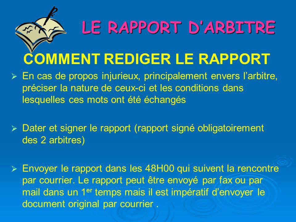 LE RAPPORT DARBITRE COMMENT REDIGER LE RAPPORT En cas de propos injurieux, principalement envers larbitre, préciser la nature de ceux-ci et les condit