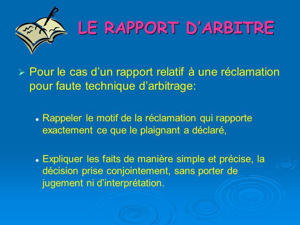 LE RAPPORT DARBITRE Pour le cas dun rapport relatif à une réclamation pour faute technique darbitrage: Rappeler le motif de la réclamation qui rapport