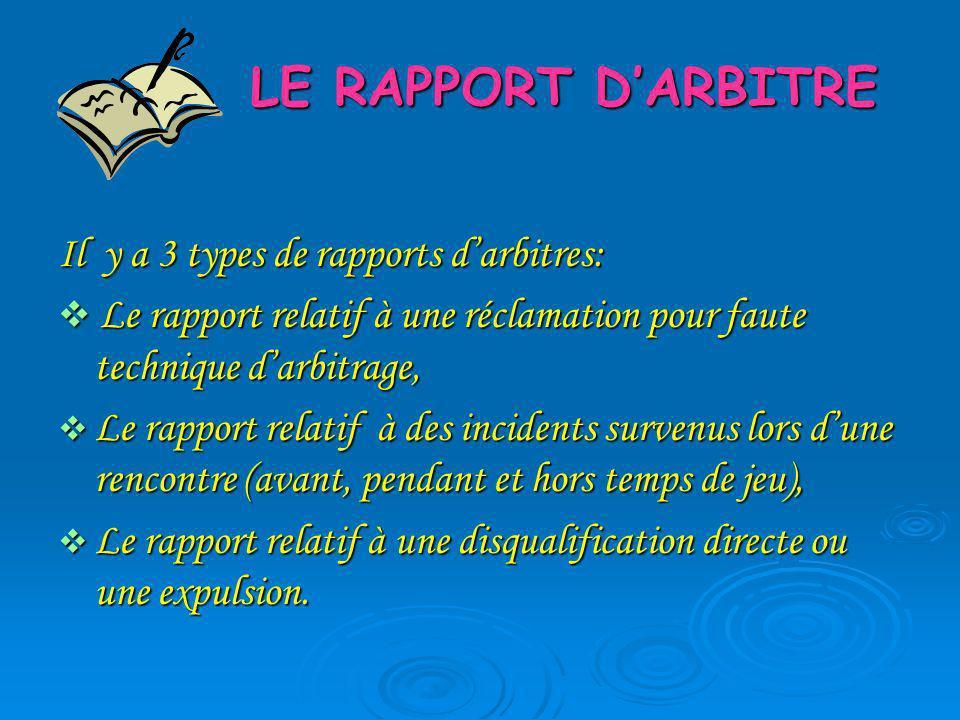 LE RAPPORT DARBITRE Il y a 3 types de rapports darbitres: Le rapport relatif à une réclamation pour faute technique darbitrage, Le rapport relatif à u