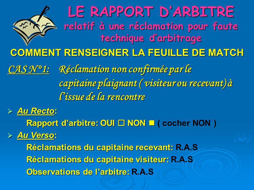 LE RAPPORT DARBITRE relatif à une réclamation pour faute technique darbitrage CAS N°2: Réclamation confirmée par le capitaine plaignant (ex: recevant ) à lissue de la rencontre.