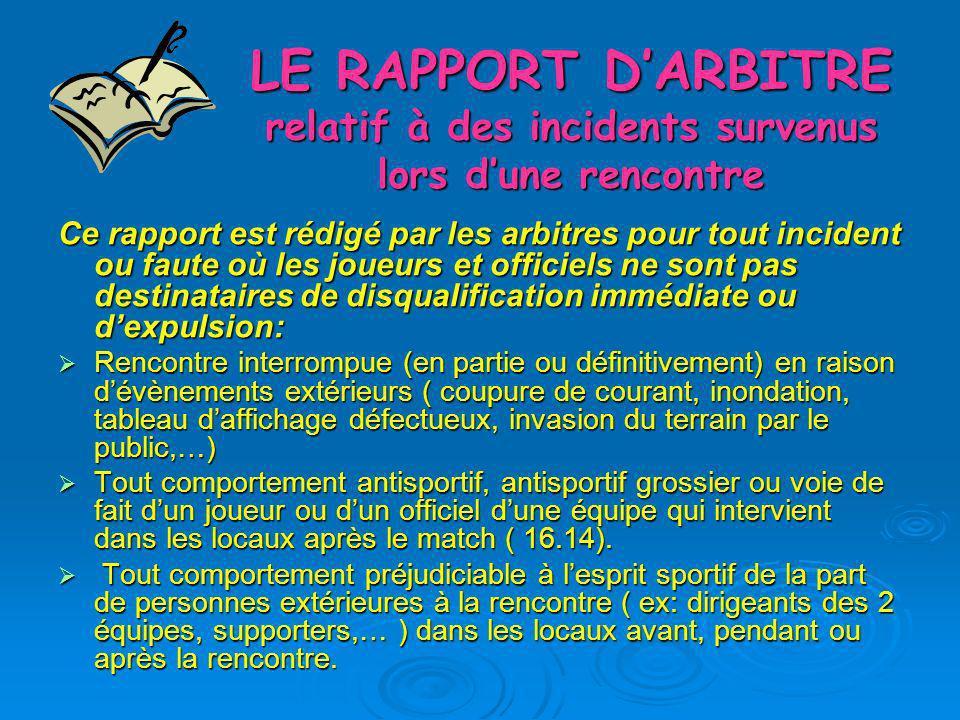 LE RAPPORT DARBITRE relatif à des incidents survenus lors dune rencontre Ce rapport est rédigé par les arbitres pour tout incident ou faute où les jou