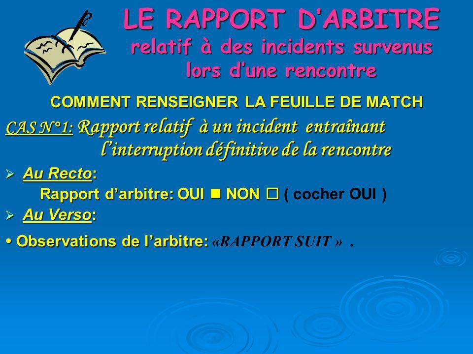 LE RAPPORT DARBITRE relatif à des incidents survenus lors dune rencontre COMMENT RENSEIGNER LA FEUILLE DE MATCH CAS N°1: Rapport relatif à un incident