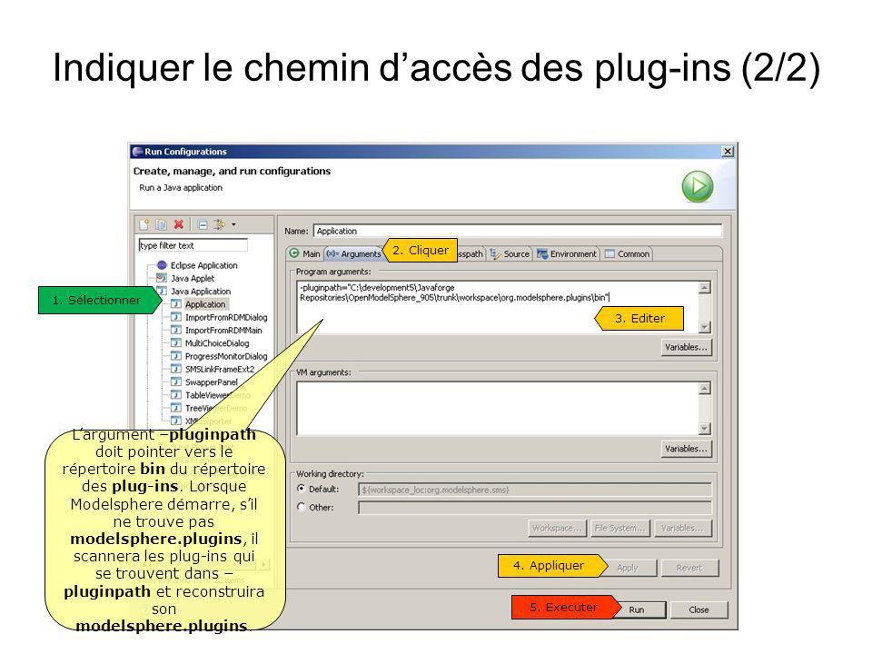 Indiquer le chemin daccès des plug-ins (2/2) 1. Sélectionner 3. Editer Largument –pluginpath doit pointer vers le répertoire bin du répertoire des plu