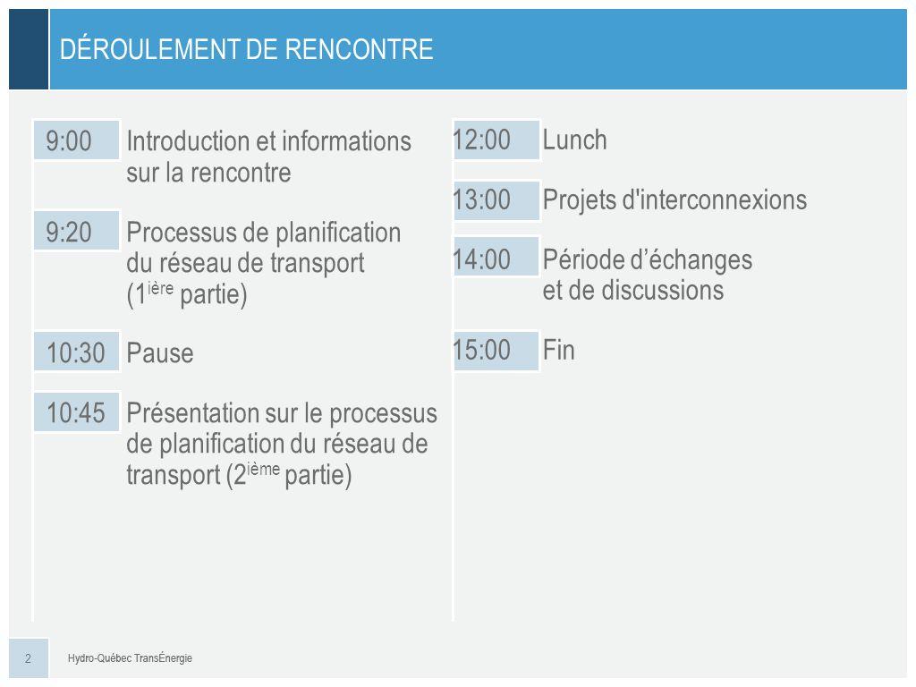 2 DÉROULEMENT DE RENCONTRE 9:00Introduction et informations sur la rencontre 9:20Processus de planification du réseau de transport (1 ière partie) 10:30Pause 10:45Présentation sur le processus de planification du réseau de transport (2 ième partie) 12:00Lunch 13:00Projets d interconnexions 14:00Période déchanges et de discussions 15:00Fin