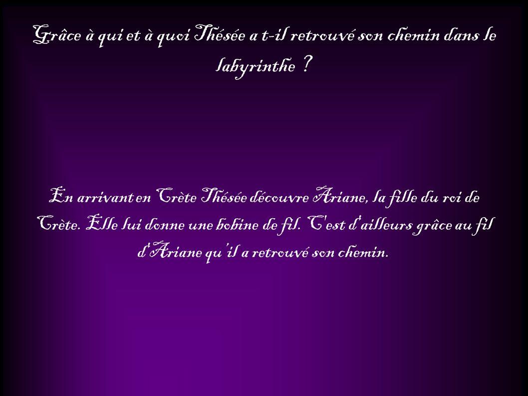 Grâce à qui et à quoi Thésée a t-il retrouvé son chemin dans le labyrinthe ? En arrivant en Crète Thésée découvre Ariane, la fille du roi de Crète. El