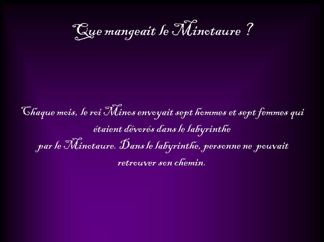 Que mangeait le Minotaure ? Chaque mois, le roi Minos envoyait sept hommes et sept femmes qui étaient dévorés dans le labyrinthe par le Minotaure. Dan
