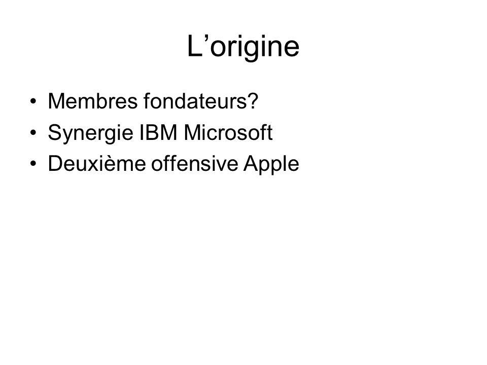 Lorigine Membres fondateurs Synergie IBM Microsoft Deuxième offensive Apple