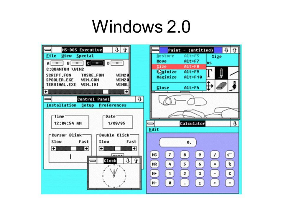 Windows 3.1 puis 3.11 DOS + interface graphique 16 bits Notion dévènement Version réseau: for WorkGroups Programmes réécrits –Fin de WP et avènement de Word