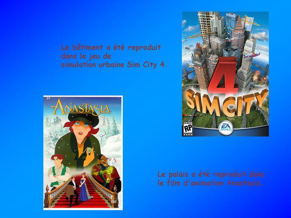 Le bâtiment a été reproduit dans le jeu de simulation urbaine Sim City 4. Le palais a été reproduit dans le film d'animation Anastasia.