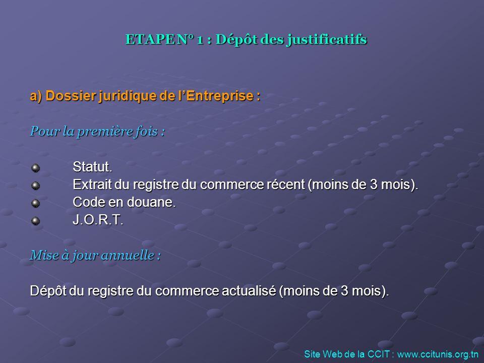 ETAPE N° 1 : Dépôt des justificatifs a) Dossier juridique de lEntreprise : Pour la première fois : Statut. Extrait du registre du commerce récent (moi
