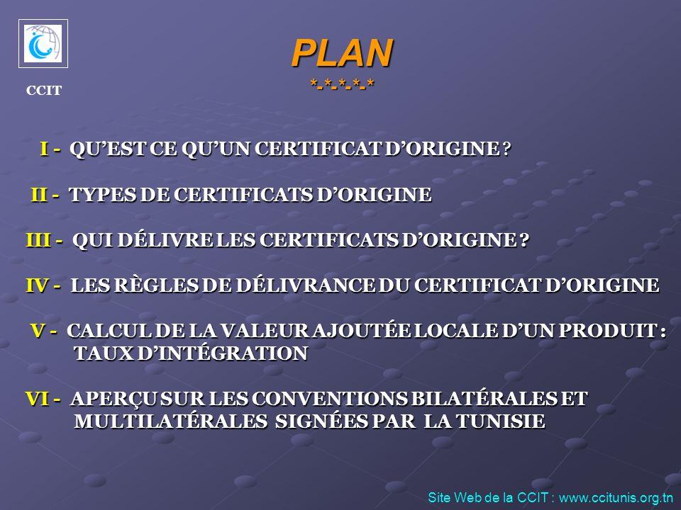 III – Qui délivre les certificats dorigine ? Site Web de la CCIT : www.ccitunis.org.tn CCIT